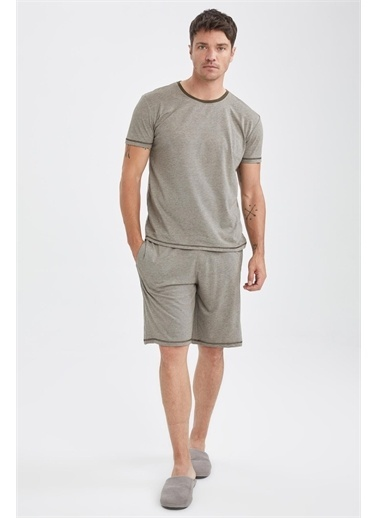 DeFacto Regular Fit Basic Pijama Takımı Antrasit